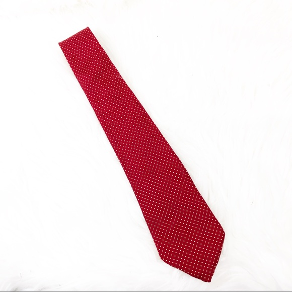 Dior Other - Dior Silk Tie Red and Tan Polka Dot